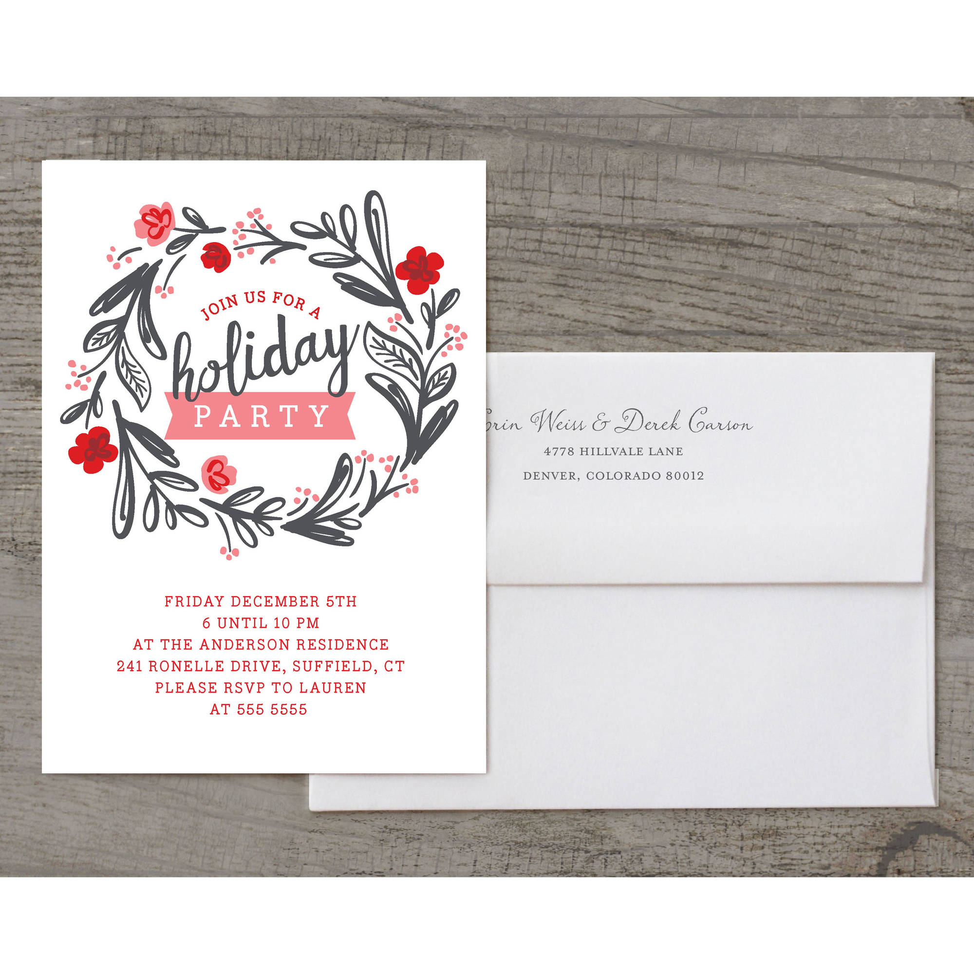 Floral Wreath Holiday Invite