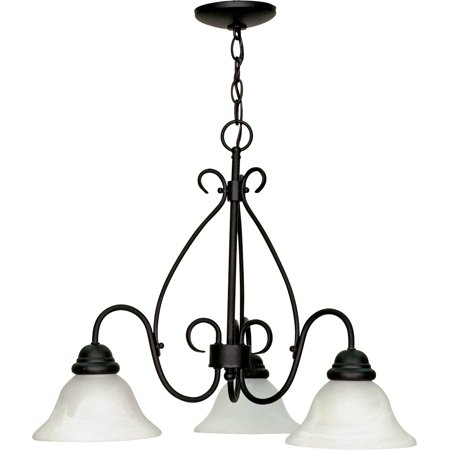 Chandeliers 3 Light With Textured Black Finish Metal Medium Base 26 inch 180 Watts (Textured Metal)