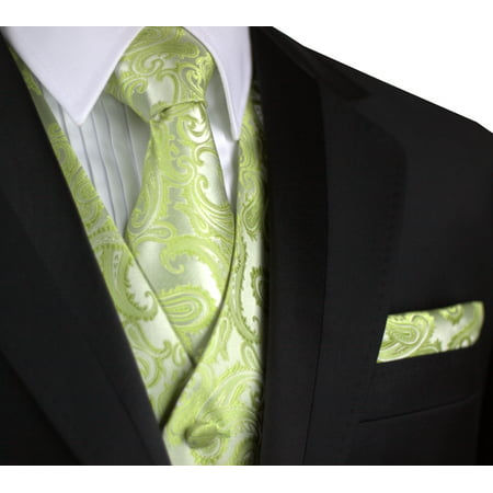 Italian Design, Men's Formal Tuxedo Vest, Tie & Hankie Set for Prom, Wedding, Cruise in Lime Paisley - Halloween Boston Cruise