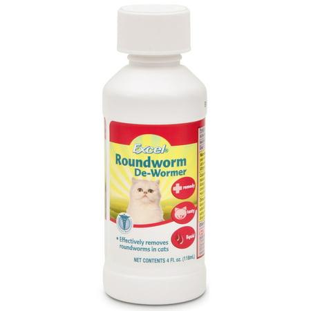 Excel Roundworm De-Wormer Liquid for Cats, 4 oz (Roundworm Dewormer)