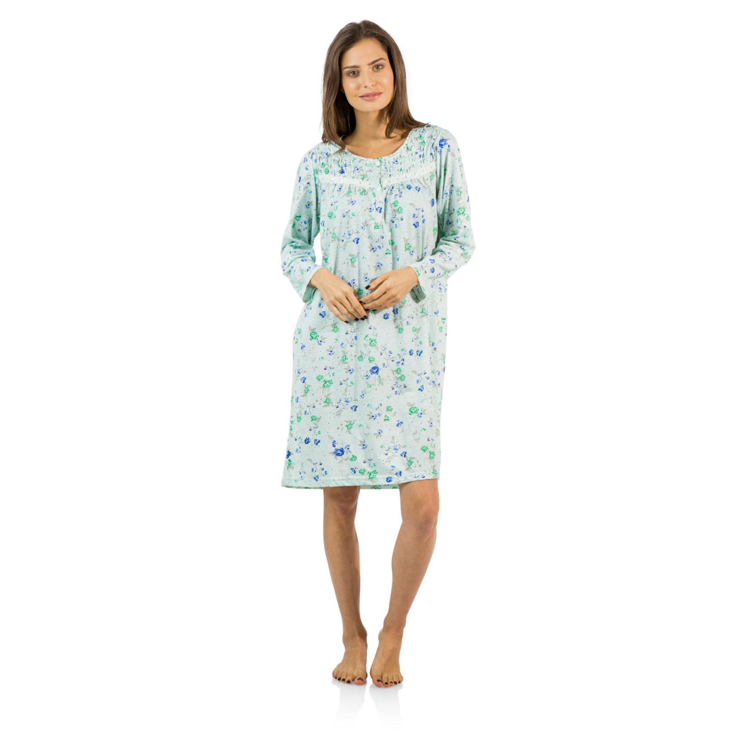 Casual Nights Women's Cotton Blend Long Sleeve Nightgown ...