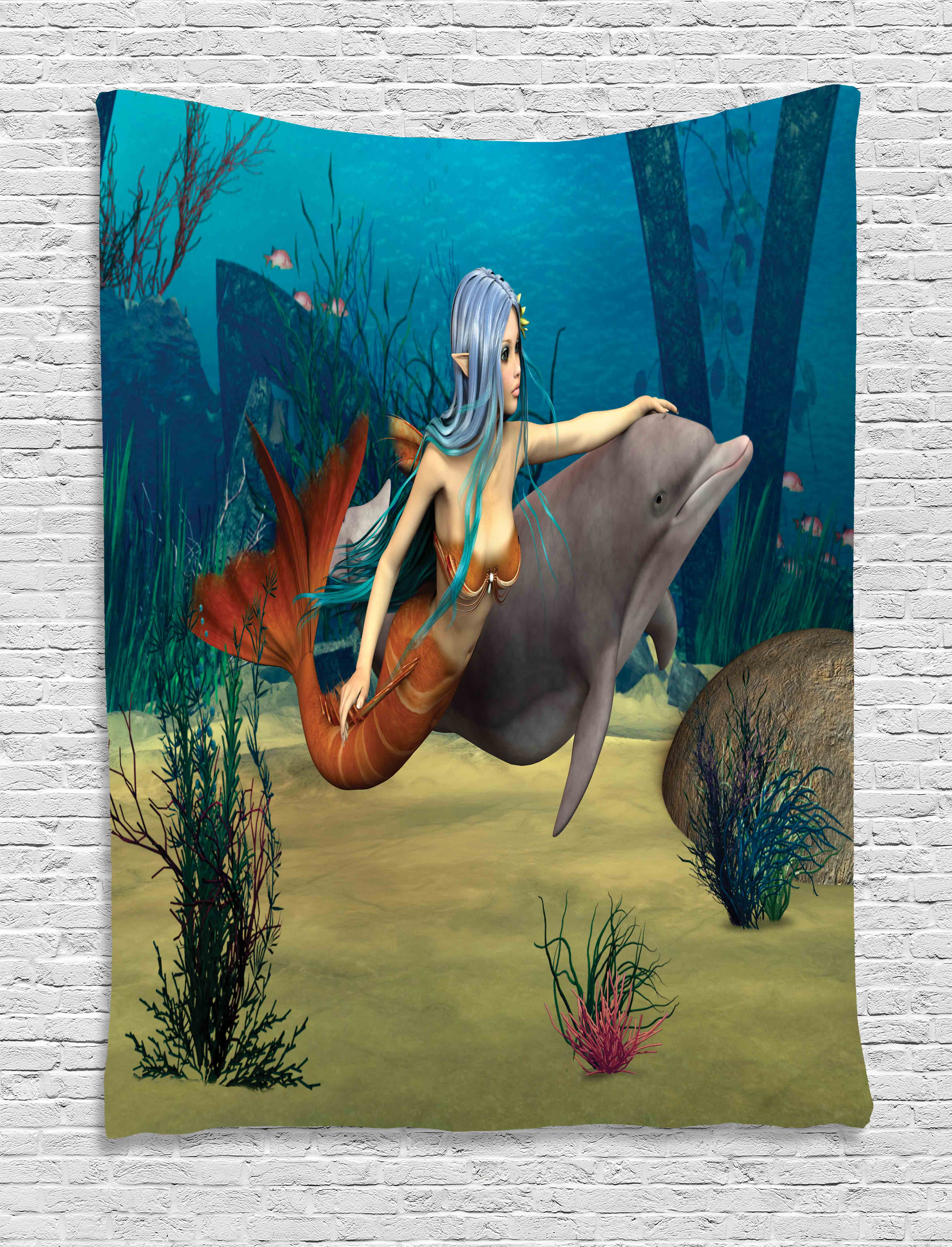 Mermaid Tapestry, Fairy Marine Cute Mermaid Girl And Dolphin Fish Swimming  Underwater In Blue Ocean