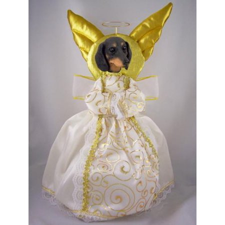 NXTT19B Dachshund Black Doogie Collection Angel Tree Topper