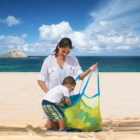 Large Mesh Beach Tote Bag for Outdoor Childrens Toy Bag Foldable &
