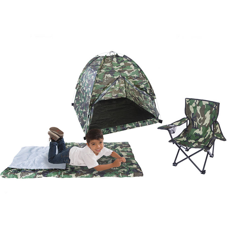 Pacific Play Tents Green Camo Set, Tent, Chair and Sleeping Bag by Pacific Play Tents
