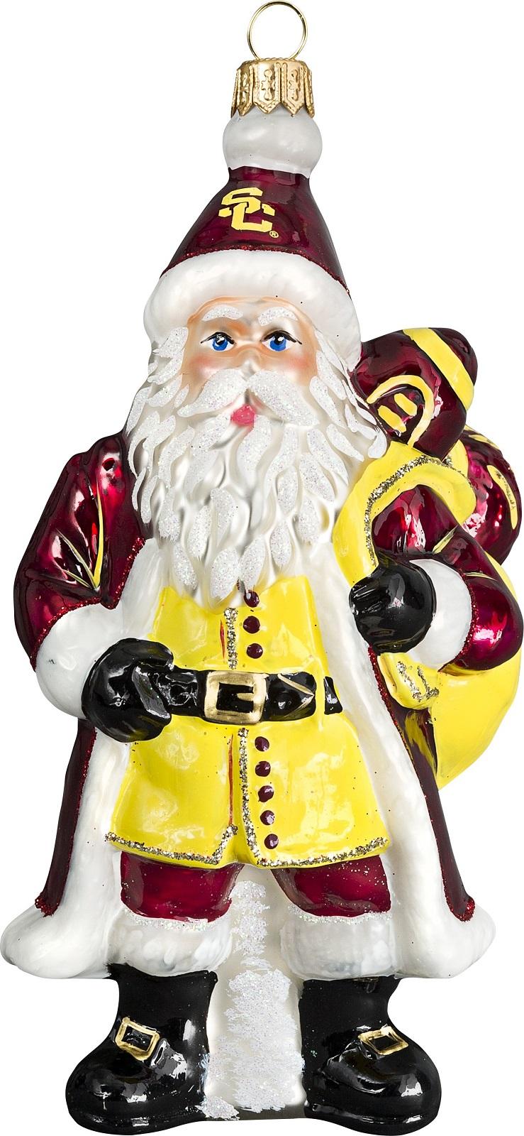 USC Trojans Santa with Football Polish Glass Christmas Ornament ...