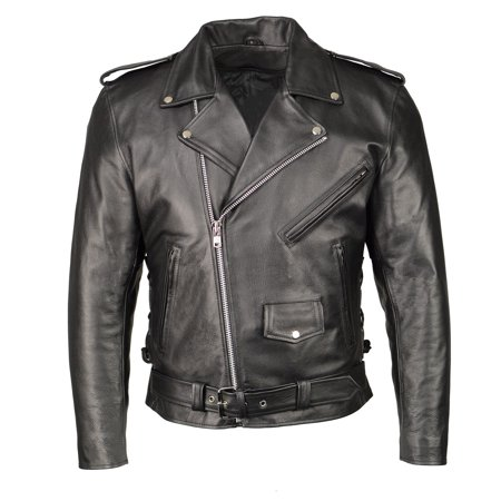 M-BOSS Motorcycle Apparel M Boss Motorcycle Apparel BOS11507 Mens Black Leather Armored Classic Side Lace Biker Jacket Black 5X-Large Classic Side Lace Motorcycle Jacket
