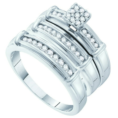 Sizes - L = 7, M = 13 - 14k White Gold Trio His & Hers Round Diamond Cluster Matching Bridal Wedding Ring Band Set 3/8 Cttw