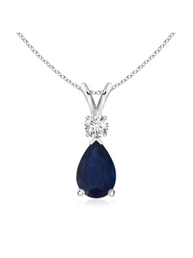 995a39b2056 Product Image September Birthstone Necklace - Blue Sapphire Teardrop Pendant  with Diamond in 14K White Gold (9x6mm