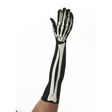 Skeleton Bones Adult Costume Long Gloves