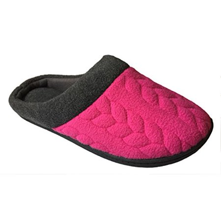 0b2e8a52e429 Dearfoams - Dearfoams Women s Quilted Fleece Clog Memory Foam Slipper  (Large 9-10 B(M) US