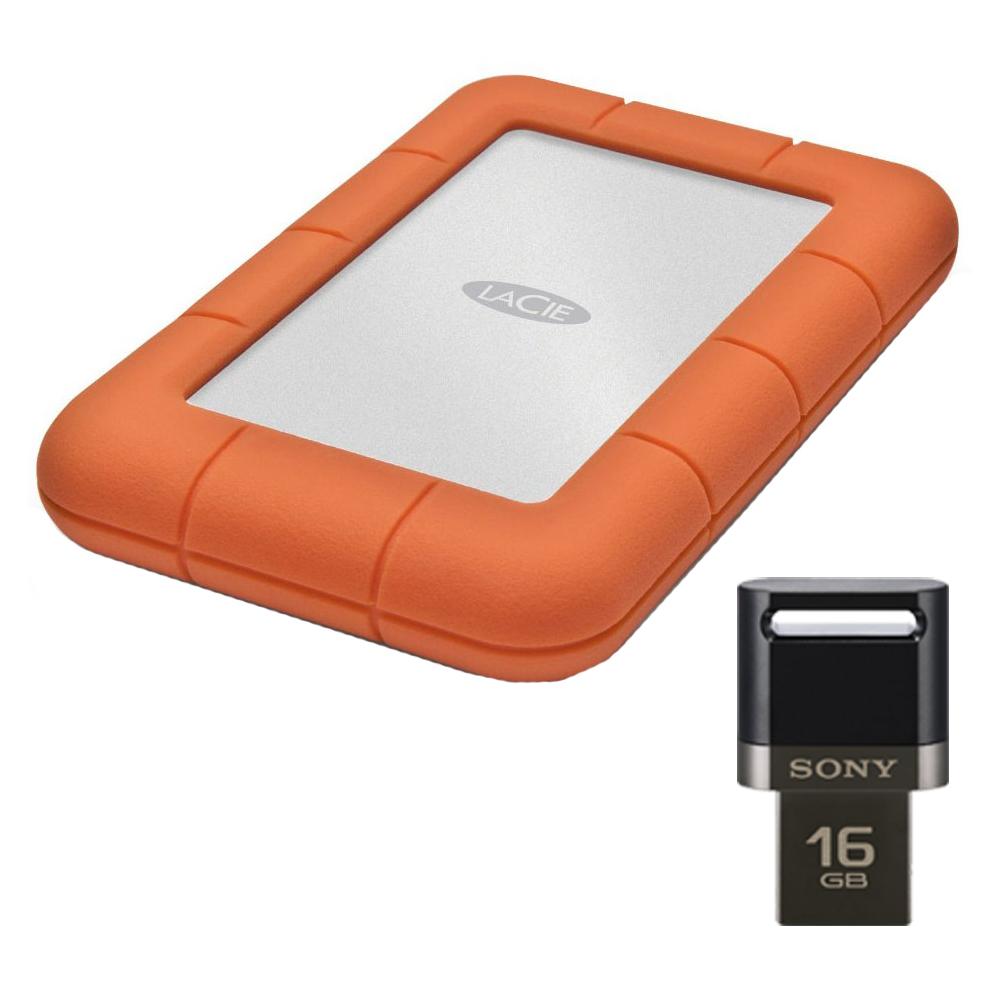 LaCie Rugged Mini USB 3.0 / USB 2.0 1TB External Hard Dri...