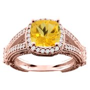 10K White Yellow Rose Gold Natural Citrine Cushion 8x8mm Diamond Accent 3 8 inch wide, size 5