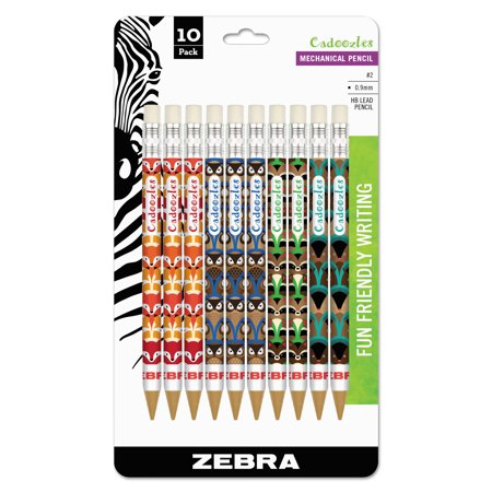 Zebra Cadoozles Mechanical Pencil, 0.9mm Point Size, Standard HB Lead, Assorted Woodlands Barrel Patterns, 10-Count