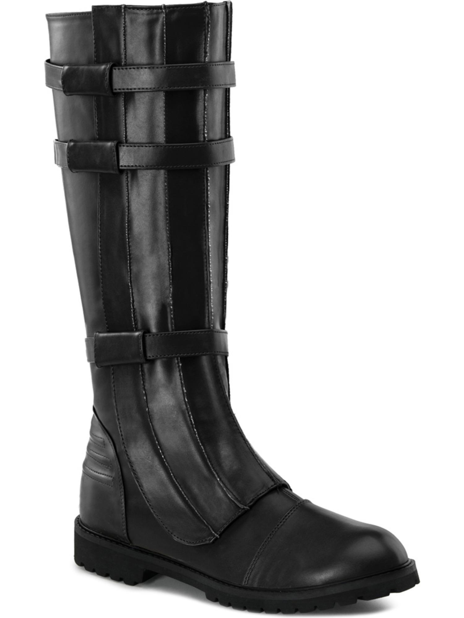 Black Knee High Boot Strap Detail Gothic MENS SIZING Low Heel FLAT