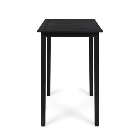 Teresa Outdoor Minimalist Acacia Wood Square Bar Table, Dark Gray Finish Square Wood Bar
