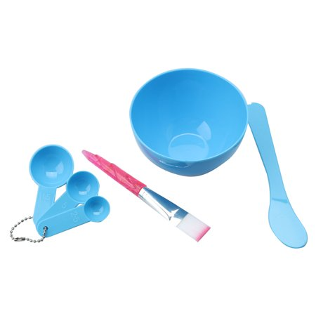 Unique Bargains Set 4 in 1 DIY Bowl Brush Spoon Beauty Face Facial Mask Outfit Kit Blue
