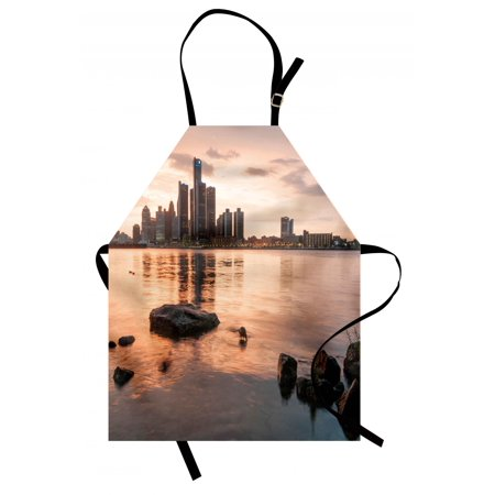 Detroit Apron Idyllic Sunset View with High Rise Buildings Riverfront Rocks Calm Peaceful, Unisex Kitchen Bib Apron with Adjustable Neck for Cooking Baking Gardening, Coral Dark Brown, by Ambesonne ()