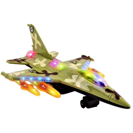 Toy Army Air Force Fighter Jet F16 Battery Operated Kid's Bump and Go Toy Plane With Flashing Lights And Sounds Bumps Into Something and Will Change Direction Perfect For Boys (Zero Fighter Plane)
