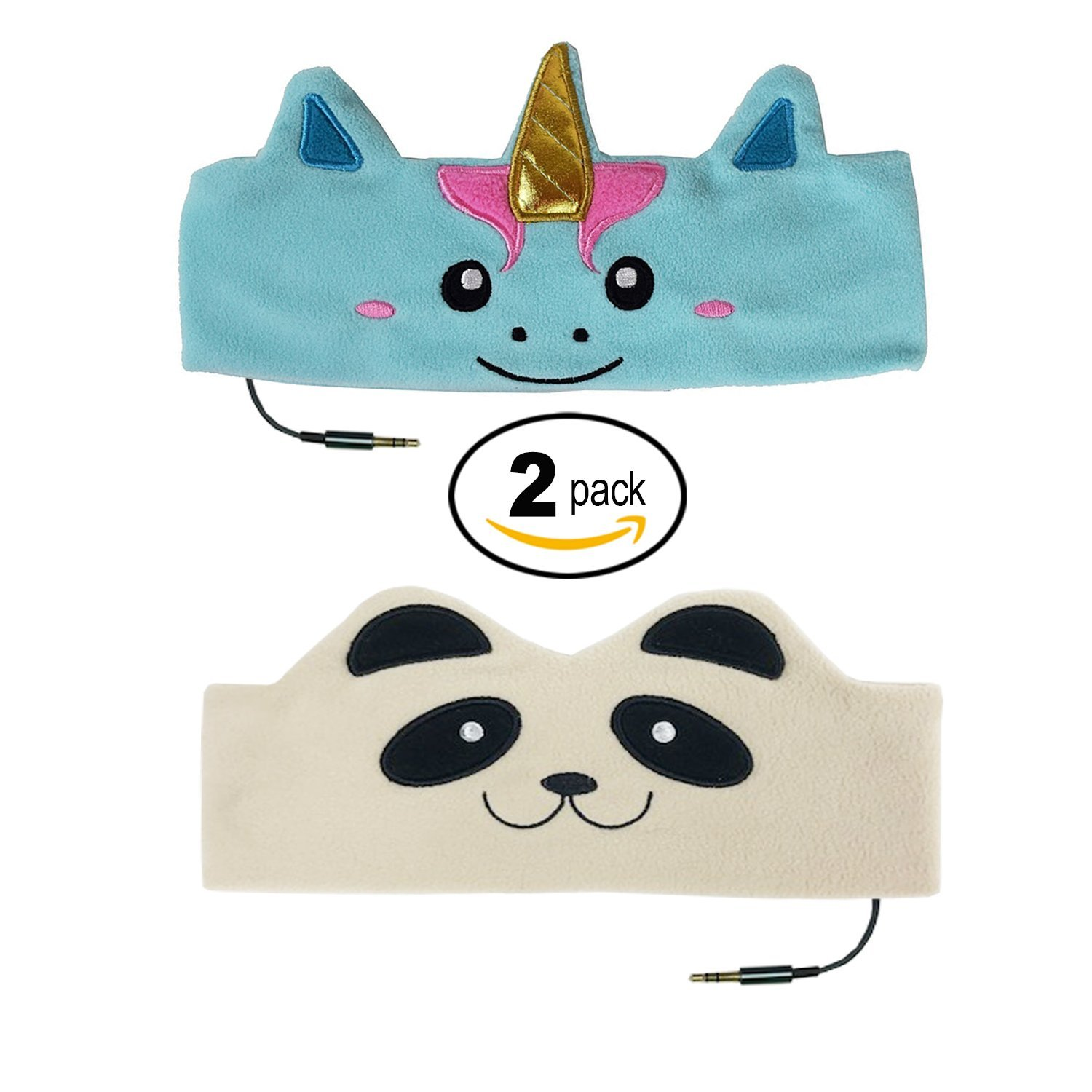 CozyPhones Cute (Purple and Green Froggy) Soft Character Headband Headphones (Value 2 Pack) Safe Music Volume Limited Home Travel Sleep Boys Girls