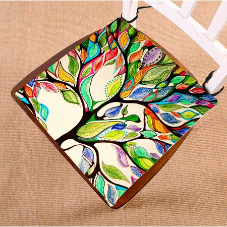 GCKG Tree of Life Chair Cushion,Tree of Life Gorgeous Like Leather Chair Pad Seat Cushion Chair Cushion Floor Cushion with Breathable Memory Inner Cushion and Ties Two Sides Printing 16x16 (Leather Chair Cushions)