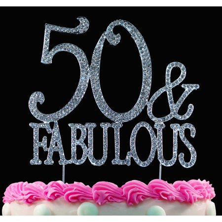 50th Birthday Cake Topper 50 and Fabulous Crystal Bling Caketop Silver (50 Cake)
