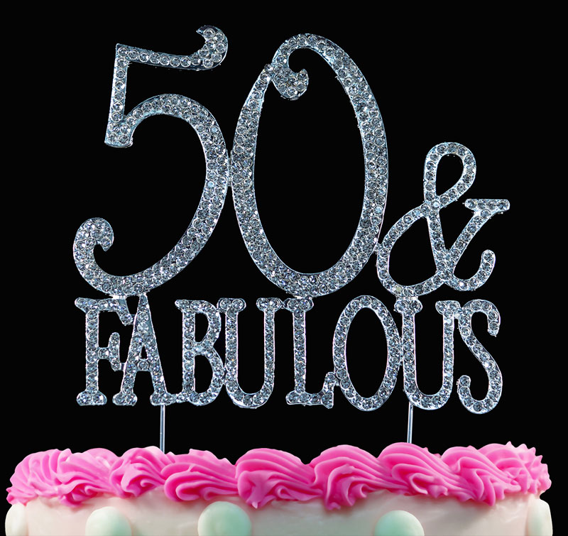 50th Birthday Cake Topper 50 and Fabulous Crystal Bling Caketop Silver