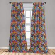 """Floral Curtains 2 Panels Set, Hippie Style Abstract Blooms with Aztec Tribal Geometric Trippy Boho Antique, Window Drapes for Living Room Bedroom, 56""""W X 95""""L, Multicolor, by Ambesonne"""