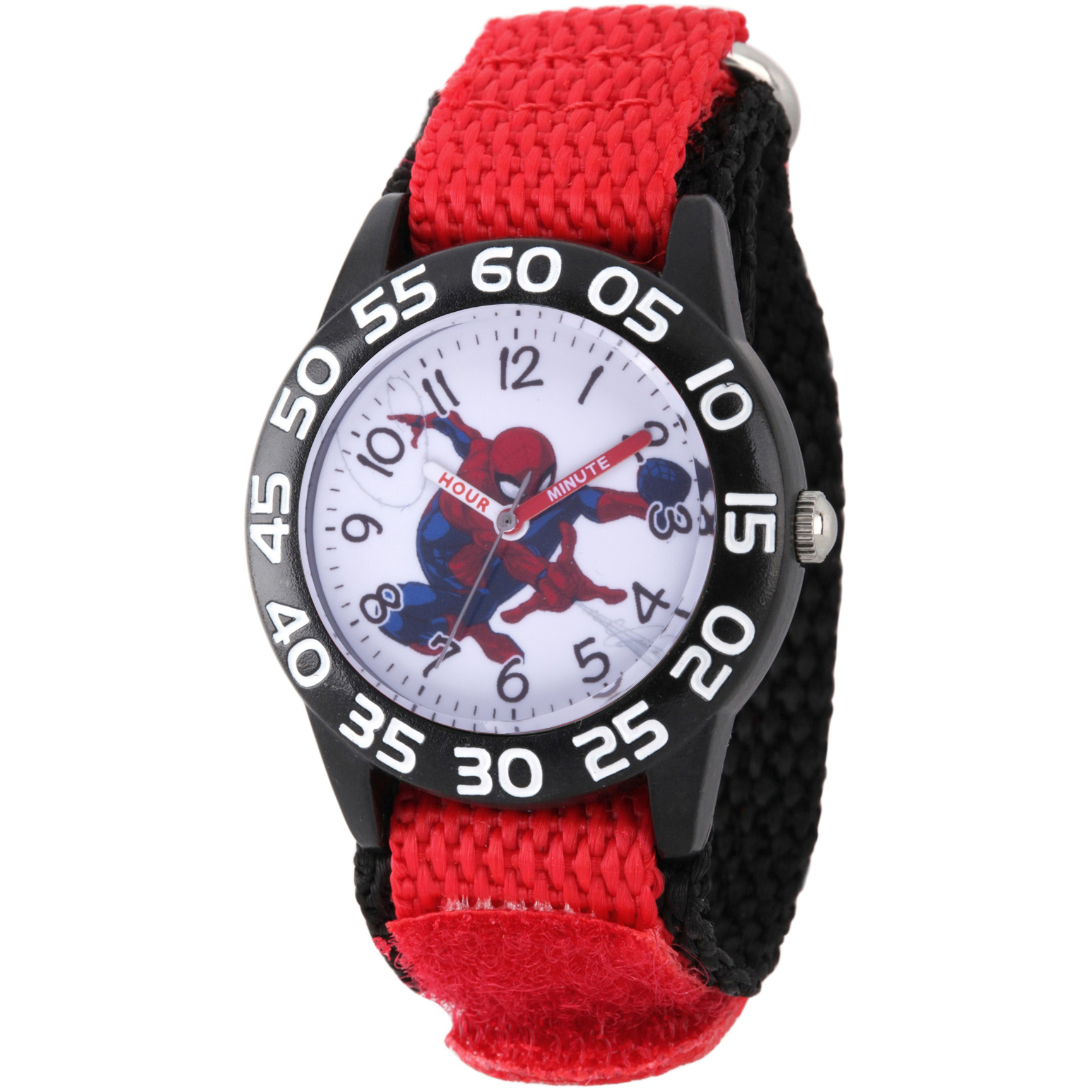 Spider-Man Boys' Black Plastic Time Teacher Watch, Red Hook and Loop Nylon Strap with Black Backing