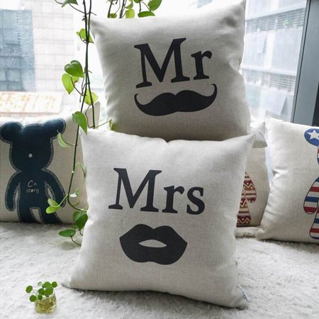 Meigar Mr & Mrs Couple Lover Wedding Decor Decorative Throw Pillow Case Cushion Cover Clearance 16x16 inch Square Zipper Waist Pillowcase Pillow Protector Slip Cases Sham for Home ()
