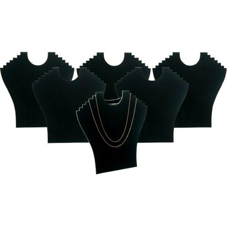 6 6 Tier Black Flocked Cardboard Necklace Chain Display Bust Easels