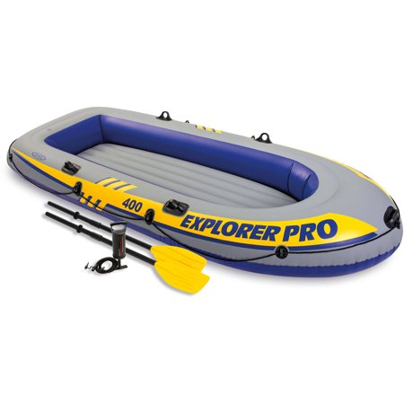 Intex Inflatable Explorer Pro 400 Four-Person Boat with Oars and Pump