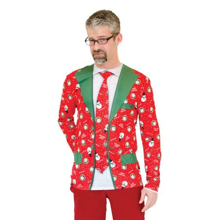 Ugly Christmas Suit Tie, 2XL - Suit And Tie Halloween Costumes