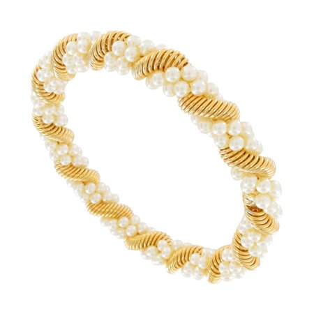 Double Faux Pearl Beaded Twisted Metal Coil Gold Tone Bangle Bracelet