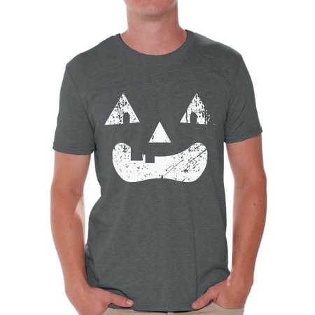 Awkward Styles Pumpkin Face Tshirt Halloween Pumpkin T Shirt Halloween Shirts for Men Dia de los Muertos Gifts for Him Day of the Dead Party Outfit Trick or Treat Gifts Spooky Pumpkin Men's Shirt - Draw Halloween Pumpkin Face