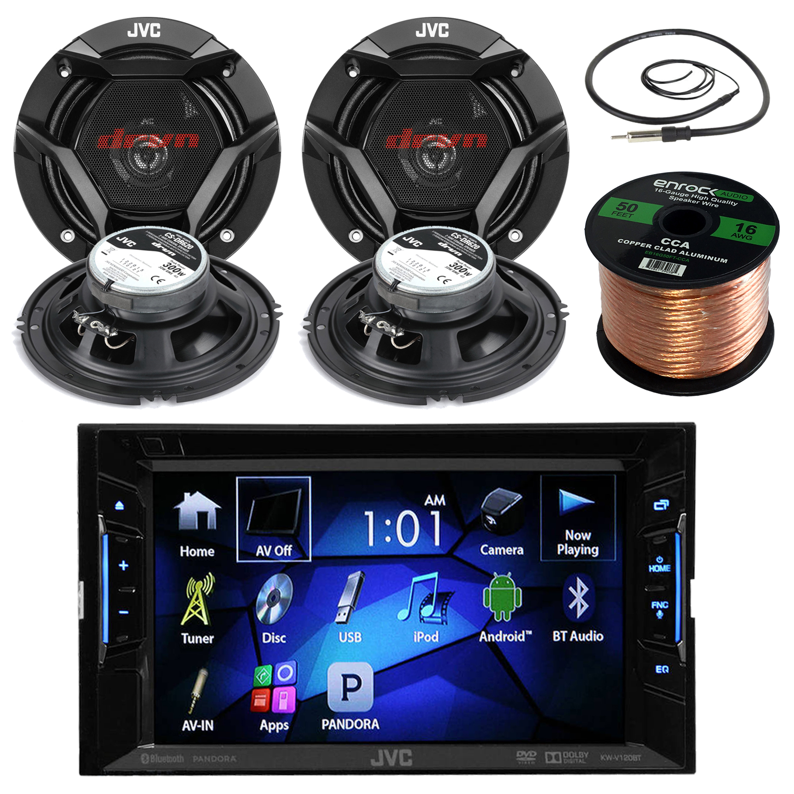 "JVC KWV140BT 6.2"" Touch Screen Car CD/DVD Bluetooth Receiver Bundle Combo With 4x CS-DR620 6.5"" Inch 300 Watt 2-Way Audio Coaxial Speakers + Enrock 22"" AM/FM Antenna + 50 Foot 16 Gauge Speaker Wire"