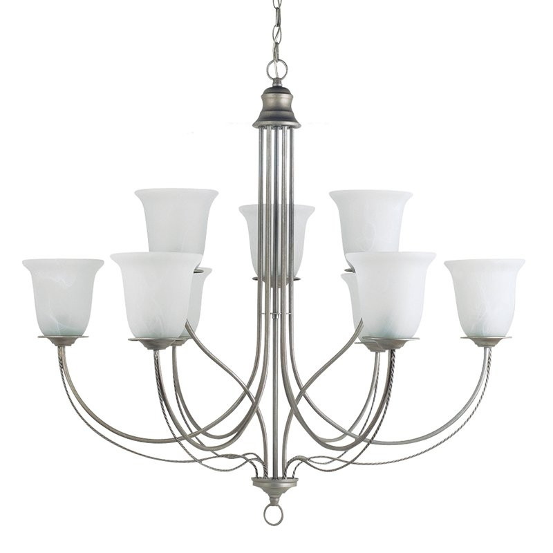 Sea Gull Lighting Plymouth 9-Light Chandelier 36W in. Weathered Pewter by Sea Gull Lighting