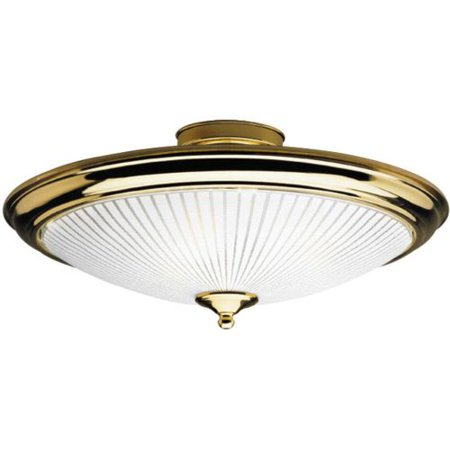Dia Semi Mount (Westinghouse Semi-Flush Mount Ceiling Fixture A19 15 In. Dia Polished Brs,Wht Glass Uses 2 Med)