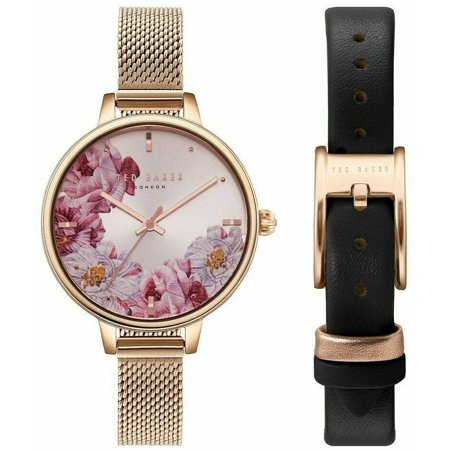 TED BAKER TE50719005 WOMEN'S WATCH SET ROSE-GOLD-TONE LEATHER FLORAL