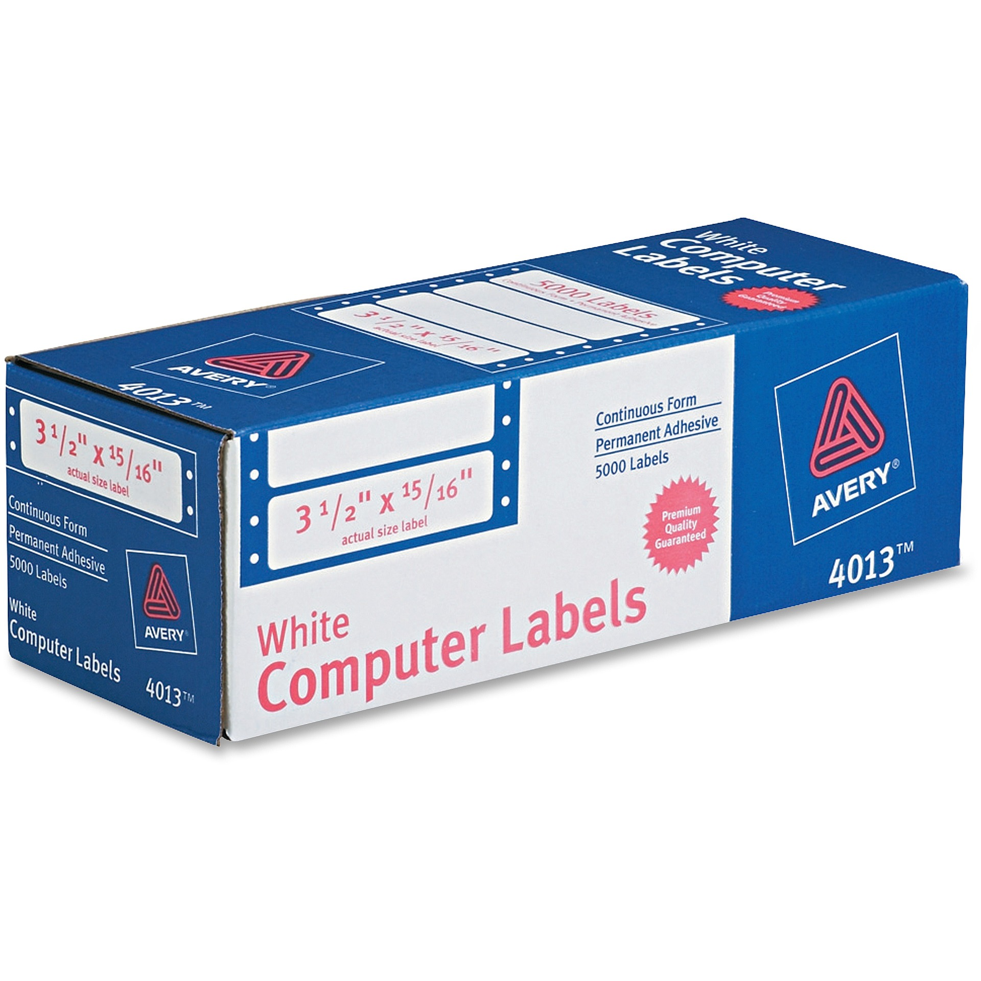 Avery Dot Matrix Mailing Labels, 1 Across, 15/16 x 3 1/2, White, 5000/Box