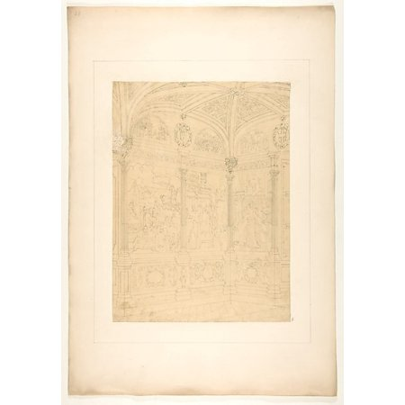 Elevation of the corner of a room decorated with Renaissance-style murals and carved woodwork Poster Print by Jules-Edmond-Charles Lachaise (French died 1897) (18 x 24) - Renaissance Decorating Style