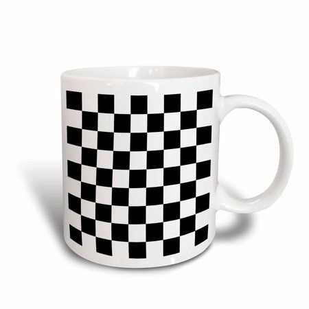 3dRose Check black and white pattern - checkered checked squares chess checkerboard or racing car race flag, Ceramic Mug, 11-ounce