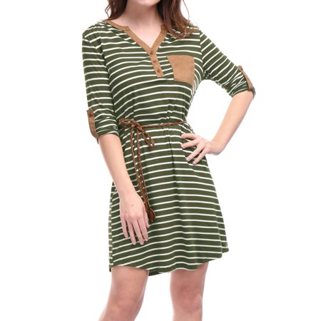 St Patricks Day Unique Bargains Women's Above Knee 3/4 Sleeves Button Upper Belted Stripes Dress - St Patrick's Day Dress