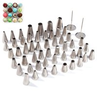 WALFRONT 52 Pieces Cake Piping Icing Nozzles Tips Kit Set Stainless Steel Russian Nozzle Piping Tips,Piping Nozzles Tips; Cake Piping Nozzles; Icing Piping; Russian Piping Tips; Icing Piping Nozzles