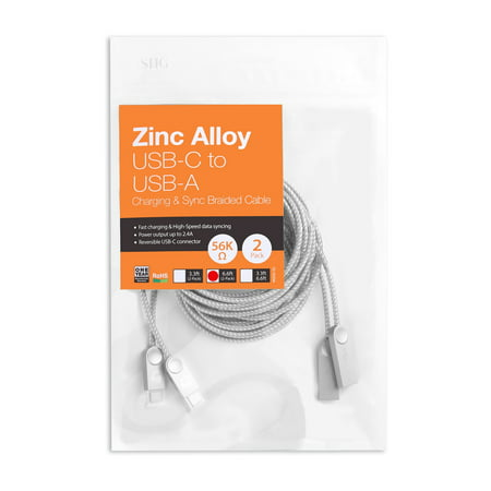 11n Cable (Zinc Alloy USB-C to USB-A Charging & Sync Braided Cable - 6.6ft, 2-Pack)