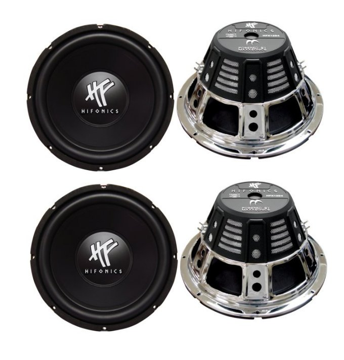 "4) HIFONICS HFX12D4  12"" 2400W Car Audio DVC Subwoofers Power Bass Subwoofers"