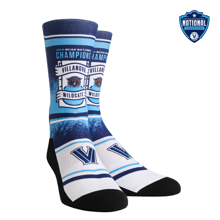 Villanova Wildcats - Banner Fade 2018 Basketball National Champions Crew Socks ()