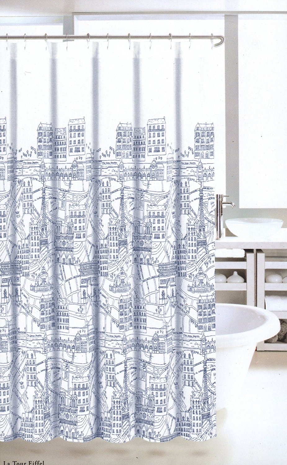 Nicole Miller Fabric Shower Curtain Navy Blue White France Paris Map Print  Fiffel Tower, Very Cute Fabric Shower Curtain Navy Blue And White.., ...