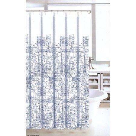 Nicole Miller Fabric Shower Curtain Navy Blue White France Paris Map ...