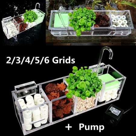 2-6 Grids Acrylic Aquarium Fish Tank External Hang On Filter Box with Water Pump